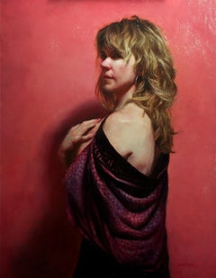 Pink Room - Female Figure Draped in Fabric, Original Oil Painting by Zack Zdrale