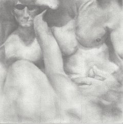 Knit - Original Graphite Drawing on Panel of Nude Male Figures
