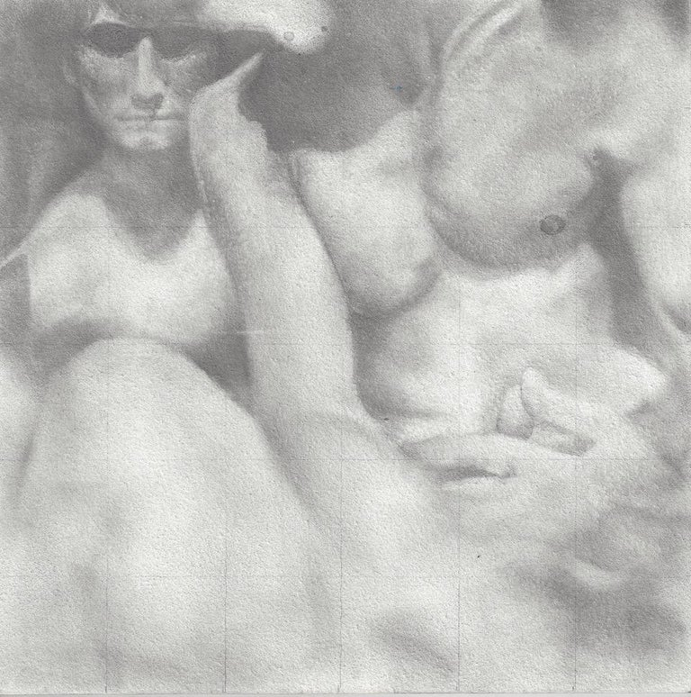 Knit - Original Graphite Drawing on Panel of Nude Male Figures - Art by Rick Sindt