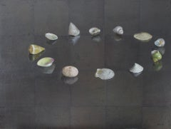 Circle of Shells - Original Oil Painting on Silver Leaf, Sea Shell Arrangement