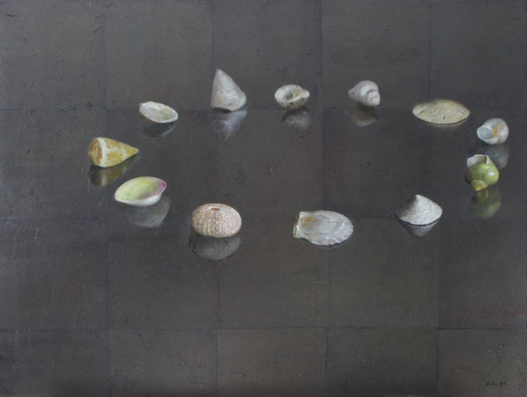 Helen Oh Animal Painting - Circle of Shells - Original Oil Painting on Silver Leaf, Sea Shell Arrangement