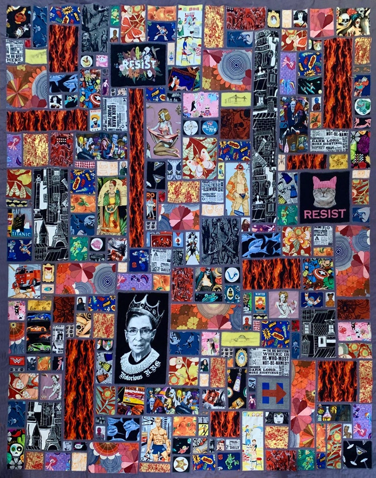 Handmade Fine Art Quilt - Calling All Superheroes! Saving the World This Time... - Mixed Media Art by Camilla B. Taylor