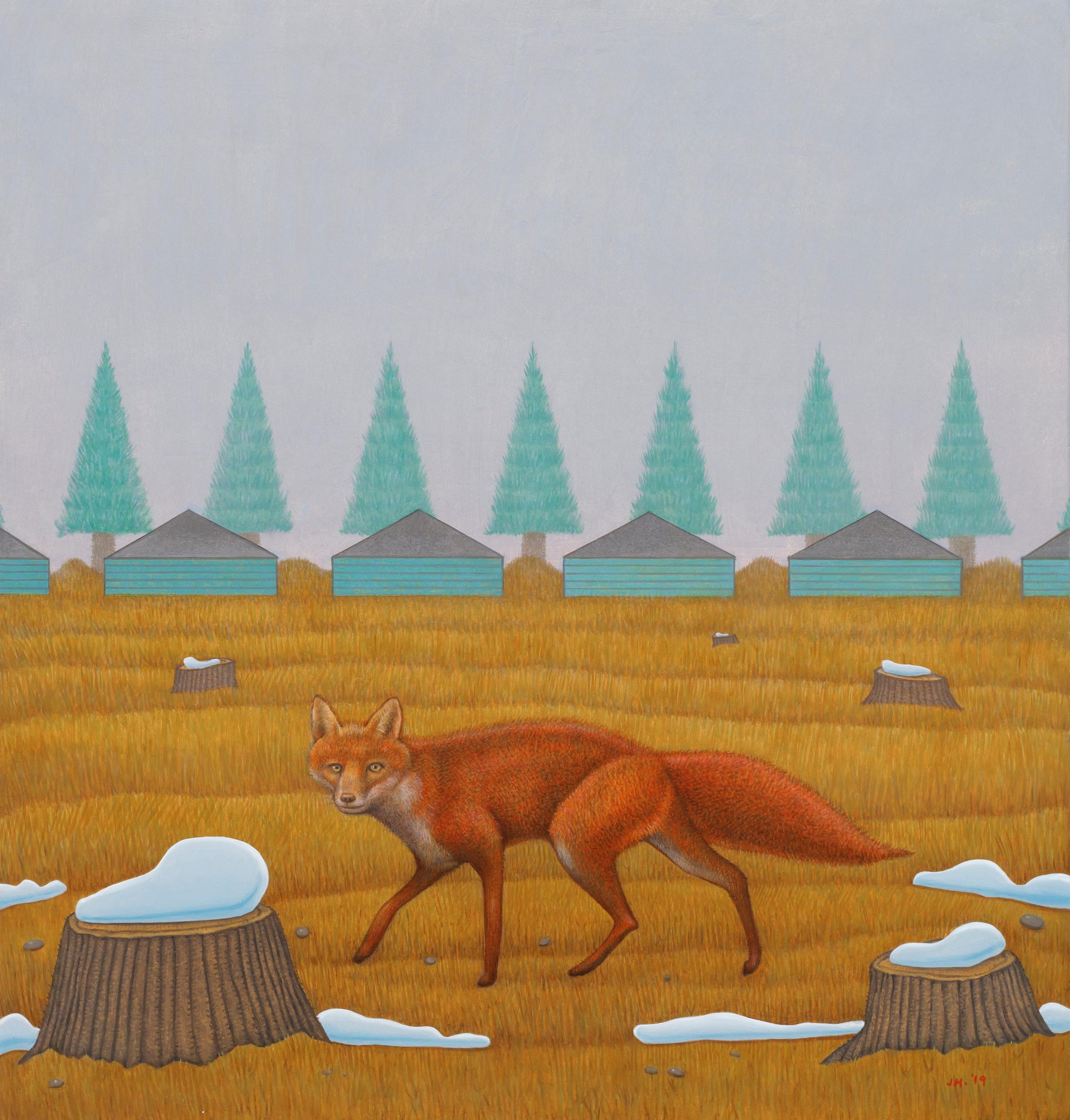 Scout - Painting of a Fox Hunting in a Sparse Landscape, Oil on Panel