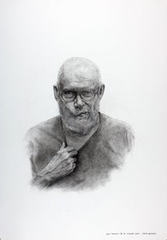 Self Portrait at 80 - Realist Charcoal on Paper Drawing, Artist Self Portrait
