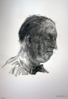 Reflection #1, Charcoal Drawing of a Man Gazing Down, Wearing a Bow Tie