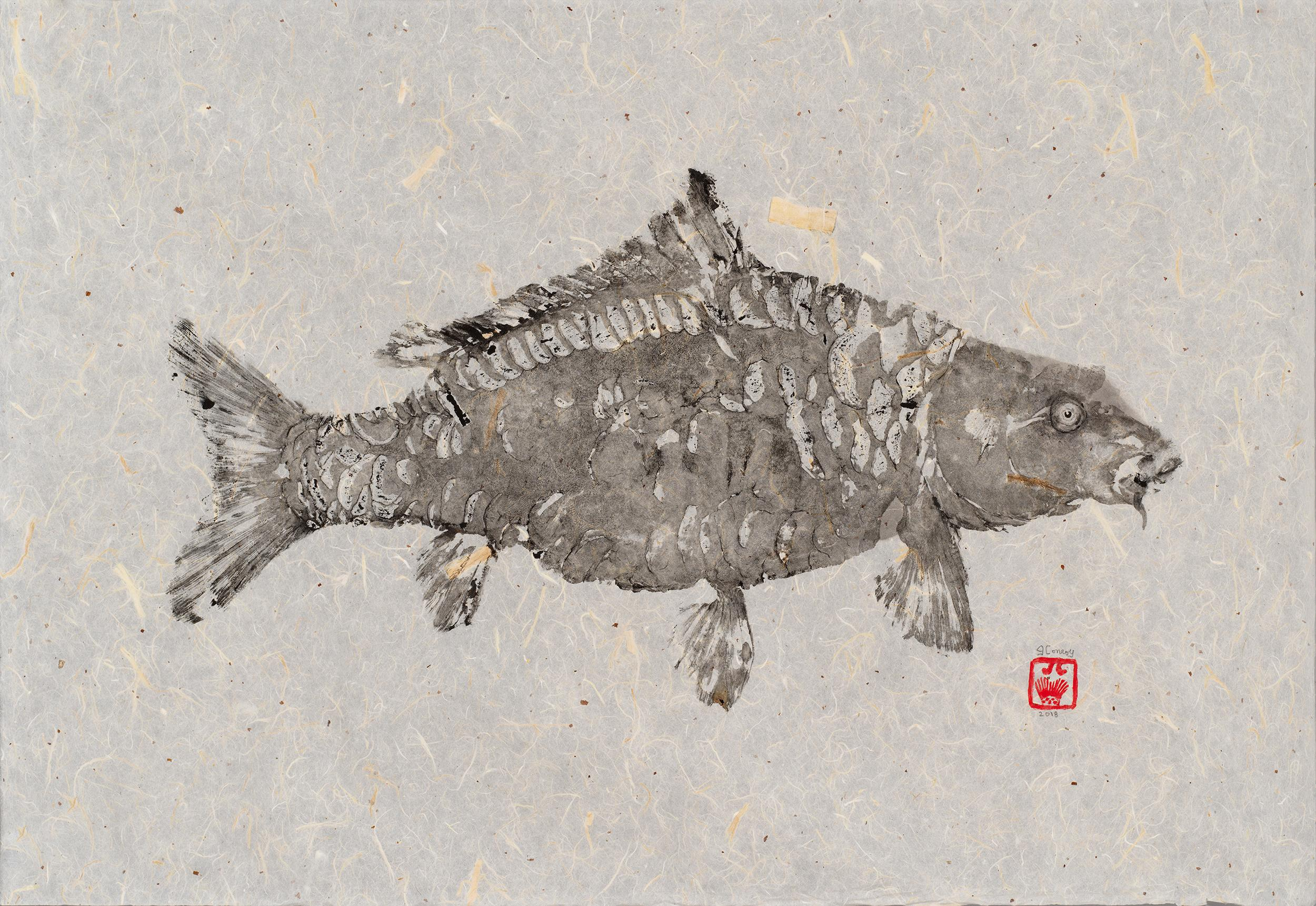 Black Mirror - Gyotaku Technique Fish Painting with Sumi Ink on Mulberry Paper