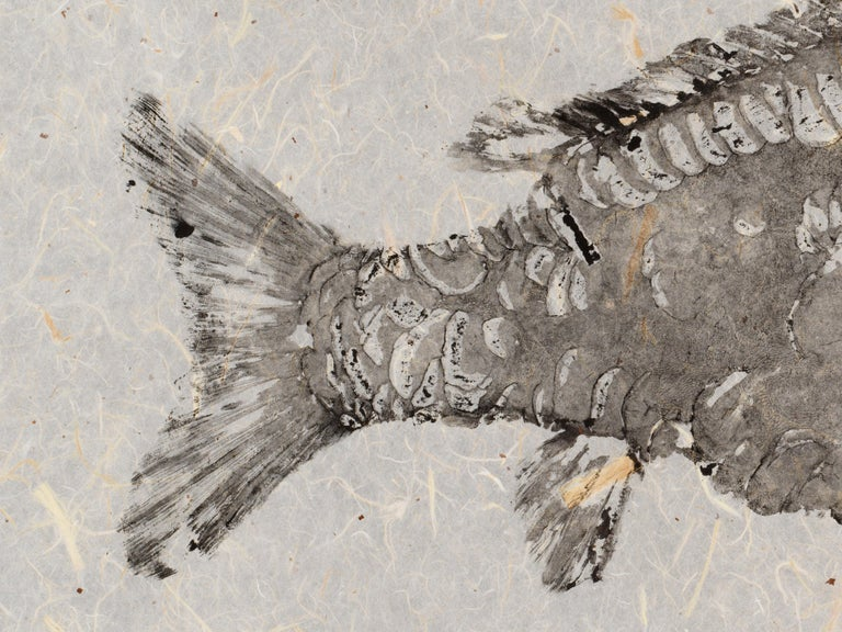 Black Mirror - Gyotaku Technique Fish Painting with Sumi Ink on Mulberry Paper 4