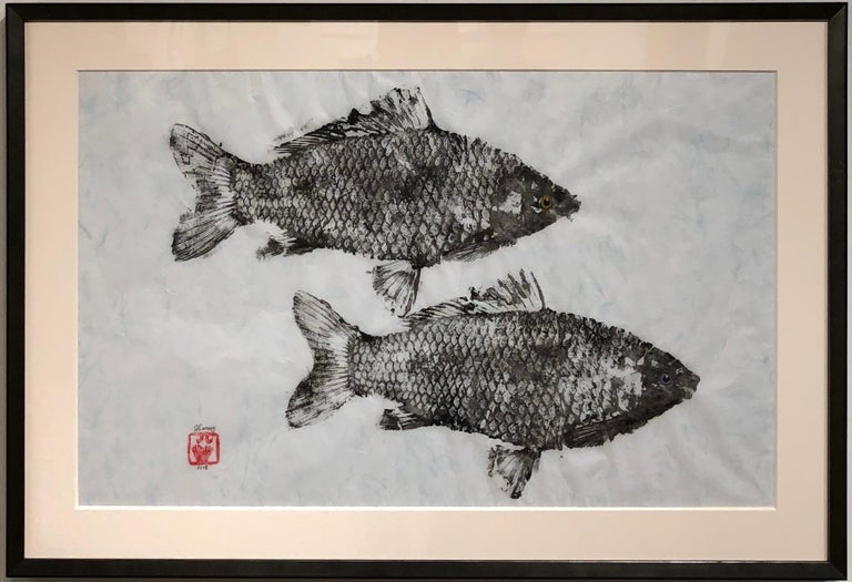 Primary Colors, Gyotako Japanese Style Painting of  Double Fish, Matted & Framed For Sale 1
