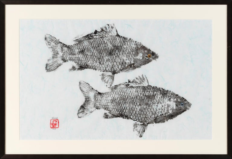 Jeff Conroy Animal Art - Primary Colors, Gyotako Japanese Style Painting of  Double Fish, Matted & Framed