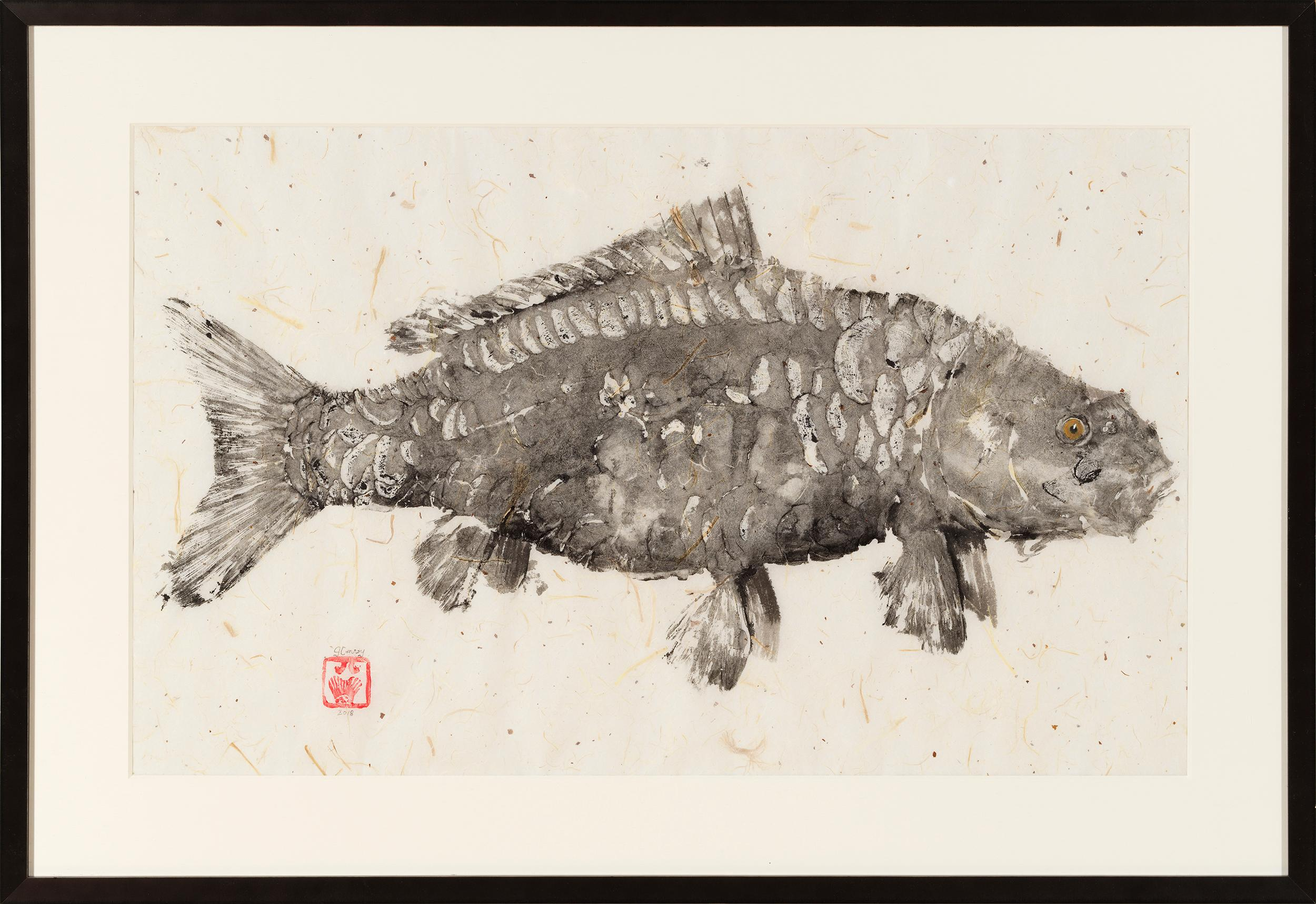 Black Mirror - Japanese Style Gyotaku Fish Painting on Mulberry Paper Framed