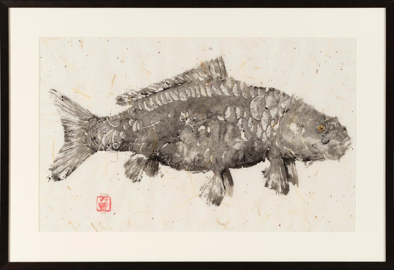 Black Mirror - Japanese Style Gyotaku Fish Painting on Mulberry Paper Framed For Sale 1