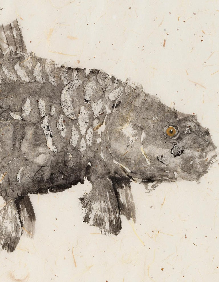 Black Mirror - Japanese Style Gyotaku Fish Painting on Mulberry Paper Framed For Sale 2