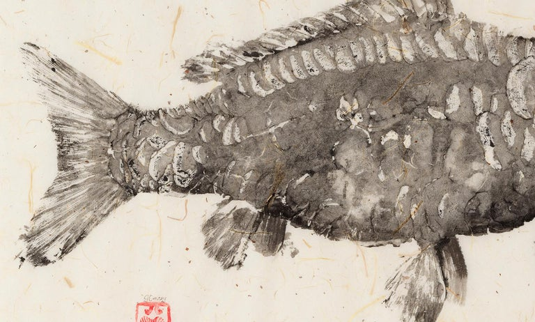 Black Mirror - Japanese Style Gyotaku Fish Painting on Mulberry Paper Framed For Sale 3