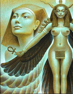 Sheba Raven Cloak, Hatshepsut - Original Painting of Egyptian Goddess Figure