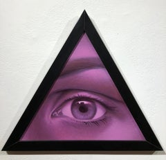 The Eye of Providence, Violet Hued All-Seeing Human Eye, Acrylic on Panel