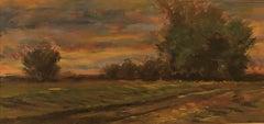 Golden Hued Landscape - Soft Pastel on Paper, Rural Scene with Tree Bank and Sky