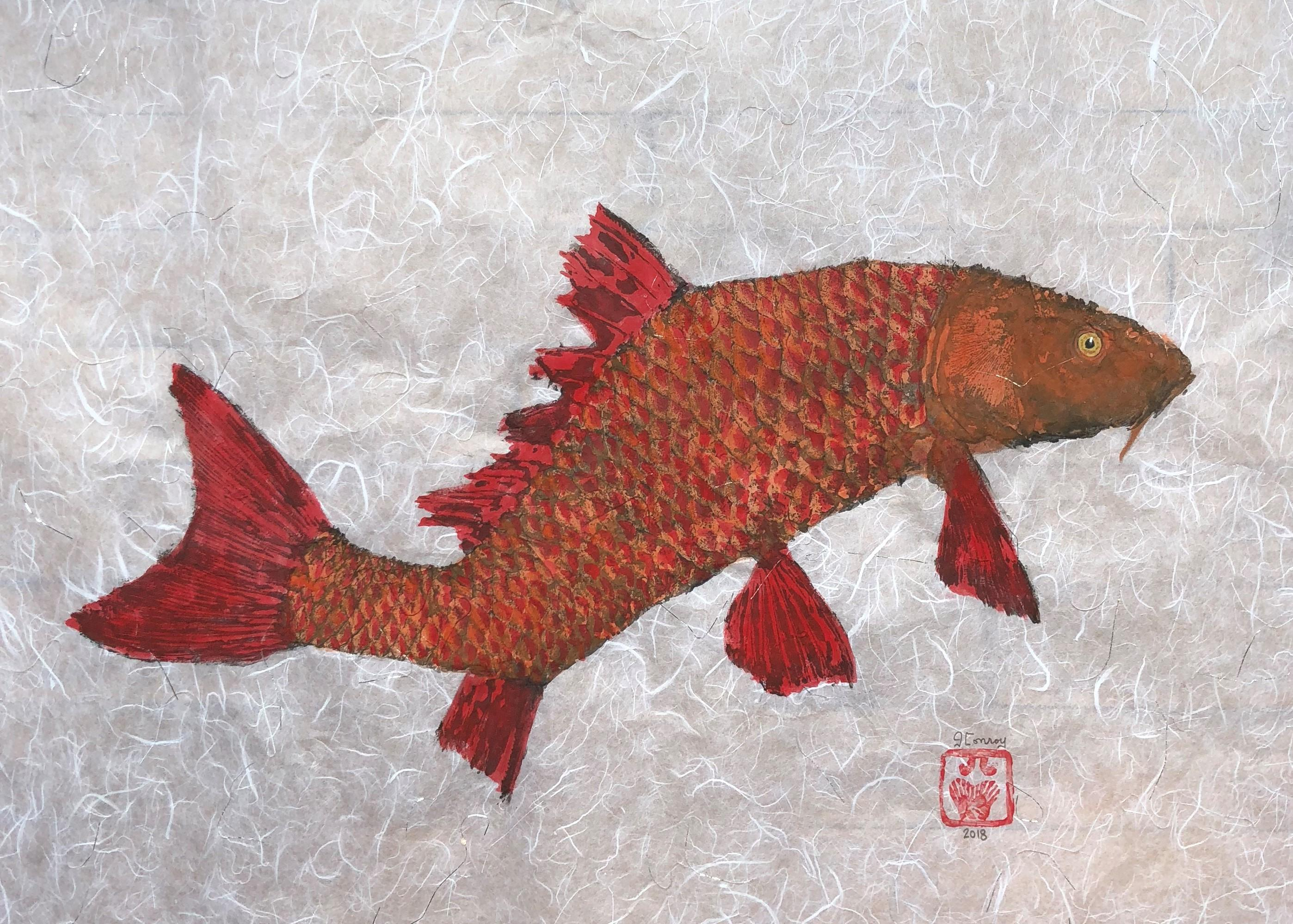 Crooked Carp - Japanese Style Gyotaku Painting of Red Fish on Mulberry Paper