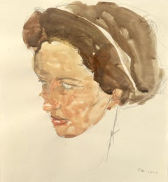 Lady, Watercolor and Graphite Painting of a Female in Muted Browns