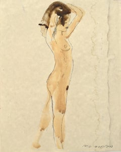 Standing Female Nude, Watercolor & Graphite on Paper in Muted Earth Tones