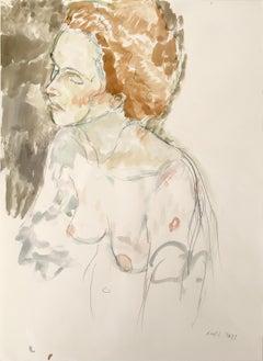 Female Nude Torso, Watercolor and Graphite in Muted Earth Tones