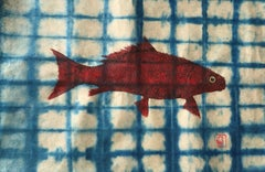Red Buffalo on Turquoise Shibori Paper
