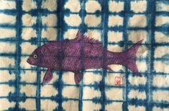 Violet Buffalo on Blue Shibori Paper