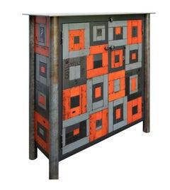 Two Door Housetop Quilt Cupboard - Steel Furniture, Gee's Bend Quilt Design