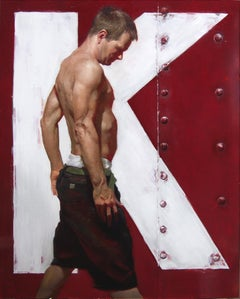 B. as K - Red Industrial Background with Shirtless Male, Oil on Panel Painting
