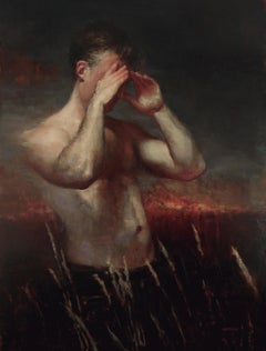 Seer - Male, Nude Torso, Oil on Canvas Painting with Vibrant Horizon Line