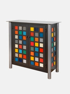 Two Door Mulit-color Quilt Cupboard - Steel Furniture, Gee's Bend Quilt Design