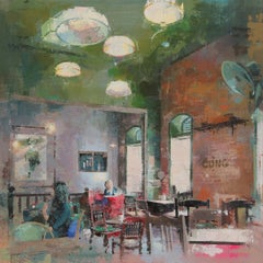 Cong Caphe - Interior Cafe scene, oil and acrylic on canvas
