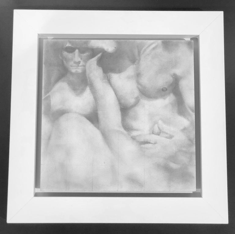 Knit - Original Graphite Drawing on Panel of Nude Male Figures - Contemporary Art by Rick Sindt