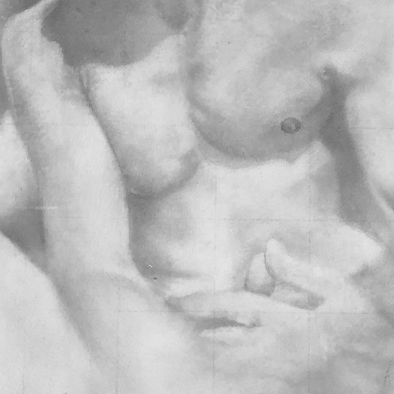 Knit - Original Graphite Drawing on Panel of Nude Male Figures For Sale 2