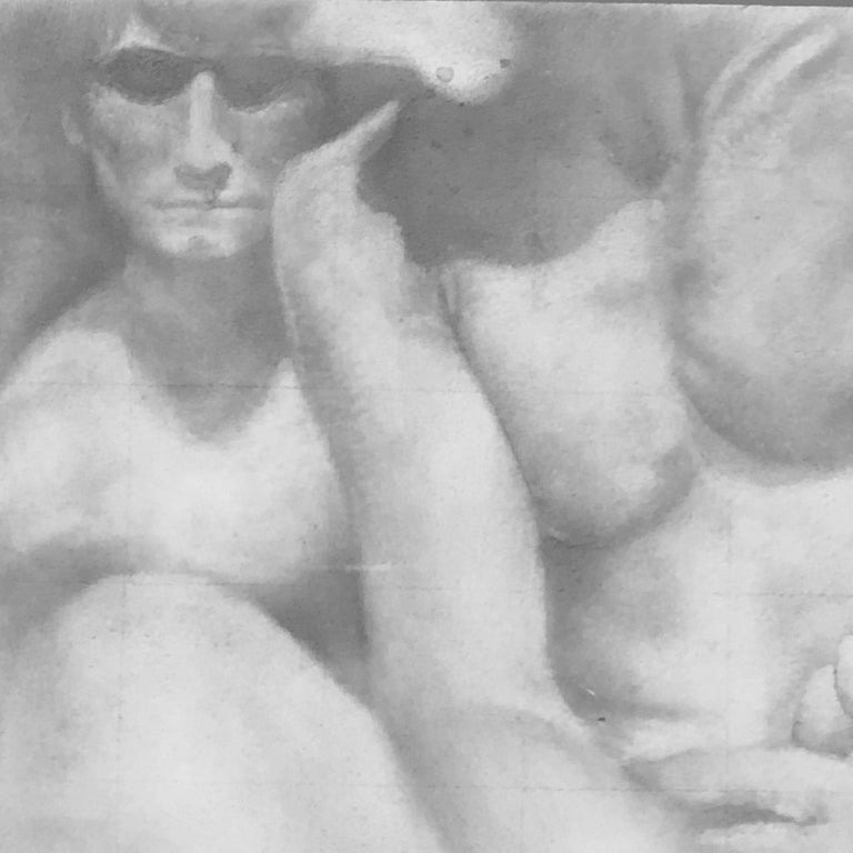Knit - Original Graphite Drawing on Panel of Nude Male Figures For Sale 1