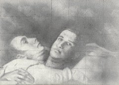 Pause - Graphite Drawing on Panel of Two Male Figures