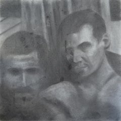 Untitled #1 - Two Male Figures Gaze at Viewer, Original Graphite Drawing