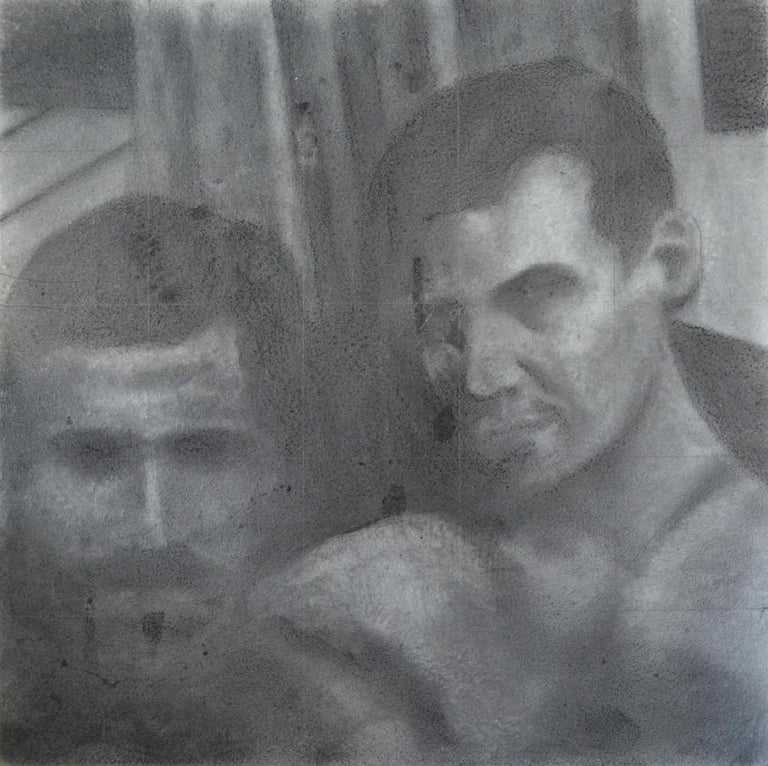 This untitled portrait by Rick Sindt is a small graphite drawing of two male figures.  The drawing is reminiscent of an old Polaroid photo but the artist makes a point of leaving the grid to show that it is an actual drawing. This piece is framed in