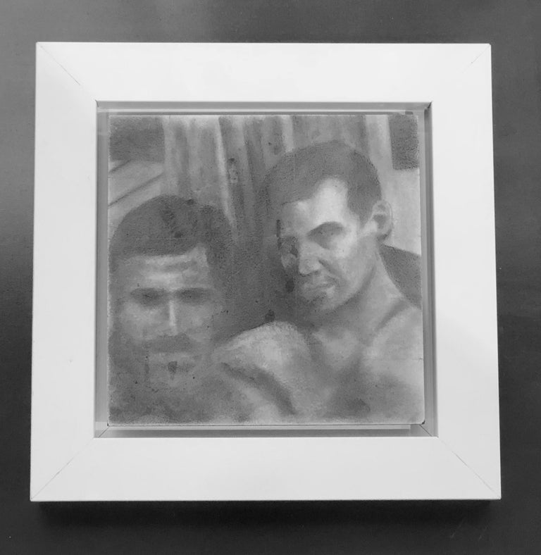 Untitled #1 - Two Male Figures Gaze at Viewer, Original Graphite Drawing For Sale 1