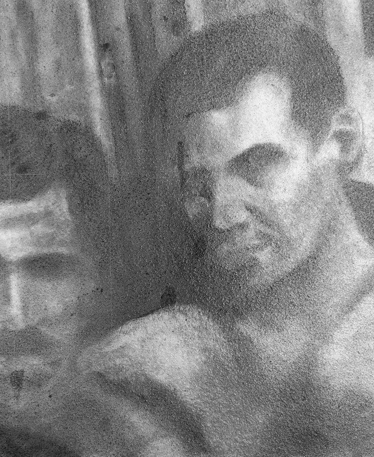 Untitled #1 - Two Male Figures Gaze at Viewer, Original Graphite Drawing For Sale 2