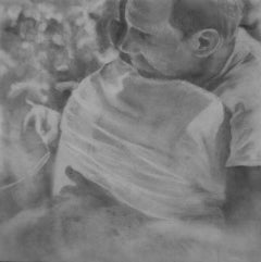 Untitled #2 - Two Male Figures Embracing, Small Scale Graphite on Panel Drawing