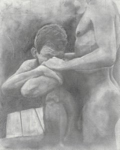 Untitled - After Cadmus - Nude Males Embracing, Original Graphite Drawing