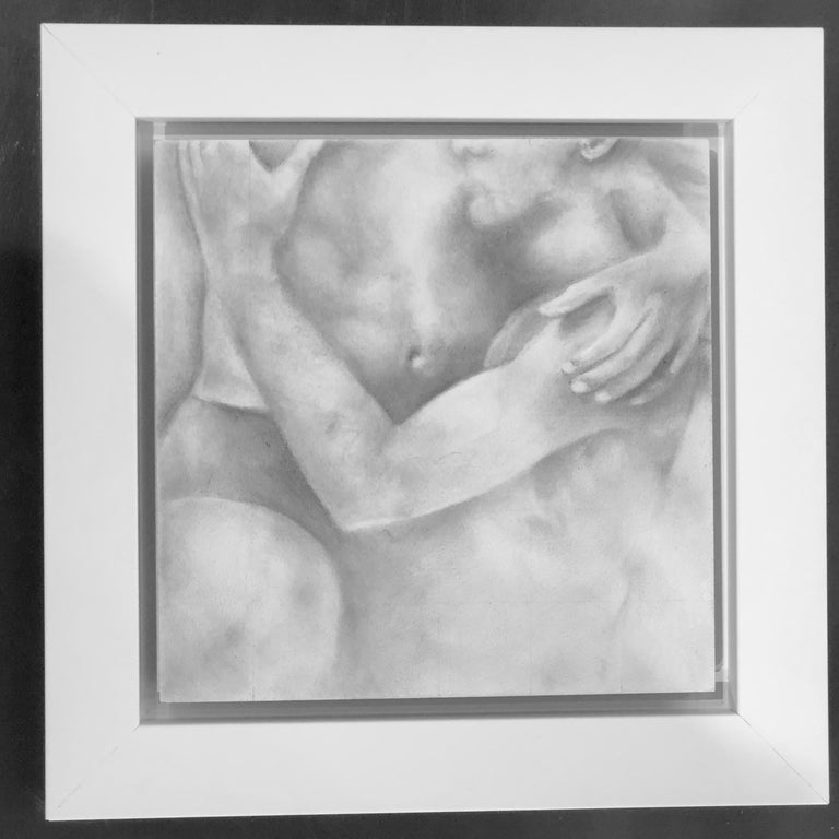 Proximity - Embracing Nude Figures, Original Graphite Drawing on Panel - Art by Rick Sindt