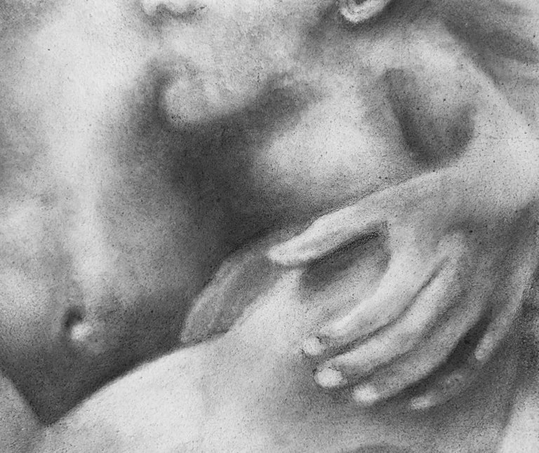 Proximity - Embracing Nude Figures, Original Graphite Drawing on Panel - Contemporary Art by Rick Sindt