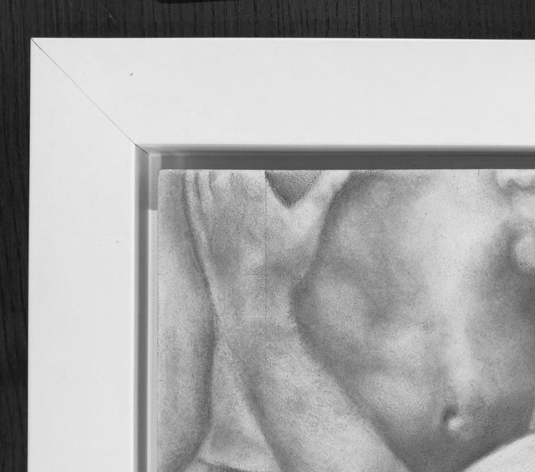 Proximity - Embracing Nude Figures, Original Graphite Drawing on Panel - Gray Figurative Art by Rick Sindt