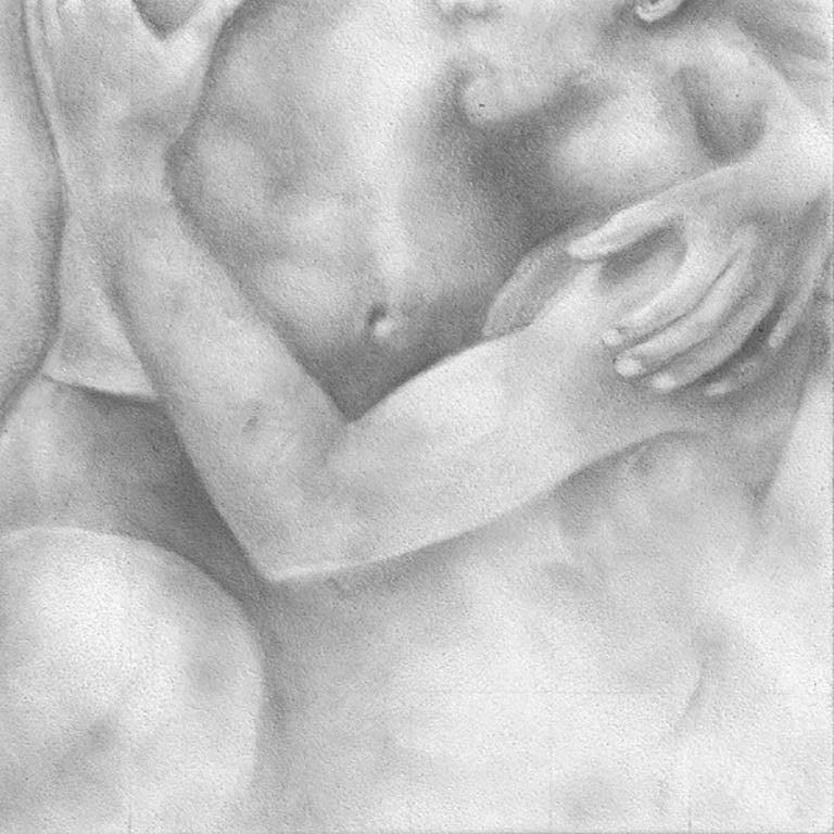 Rick Sindt Figurative Art - Proximity - Embracing Nude Figures, Original Graphite Drawing on Panel