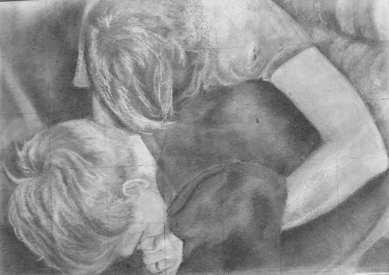 Rick Sindt Figurative Art - Untitled #5 - Two Entwined Figures, Original Graphite Drawing on Panel