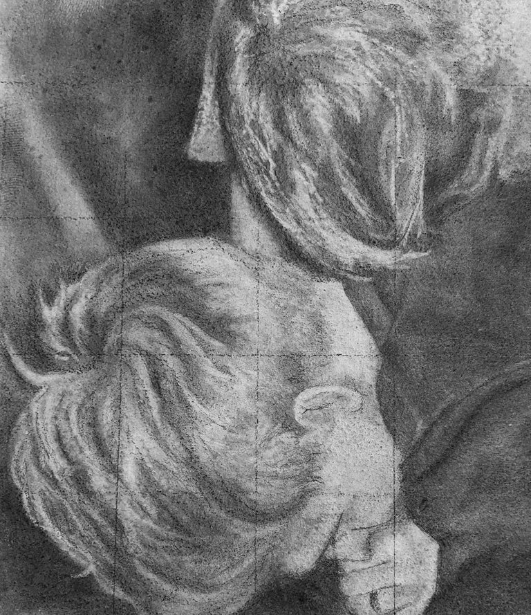Untitled #5 - Two Entwined Figures, Original Graphite Drawing on Panel - Contemporary Art by Rick Sindt