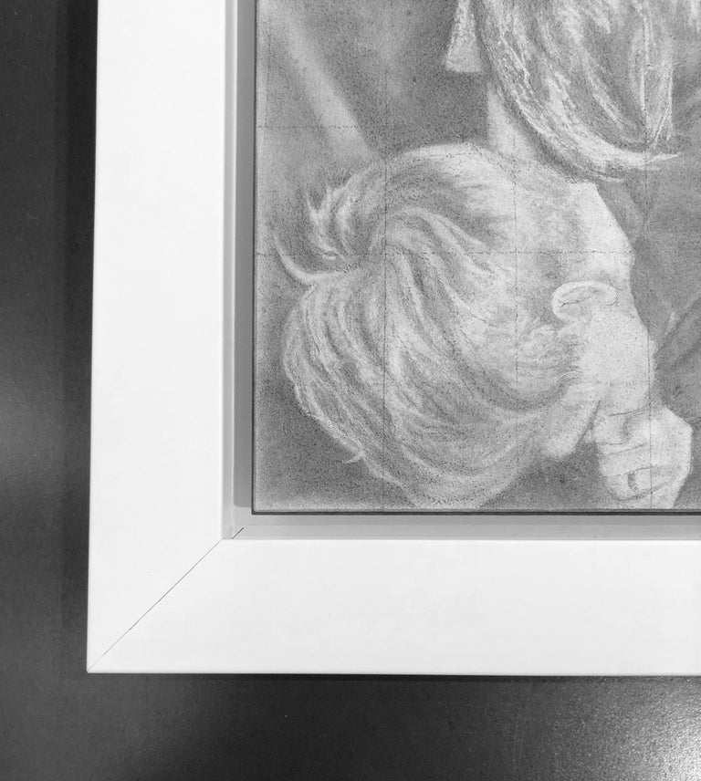 Untitled #5 - Two Entwined Figures, Original Graphite Drawing on Panel - Gray Figurative Art by Rick Sindt