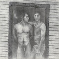Daniel #1 - Two Male Figures, One Nude in Doorway, Original Graphite Drawing