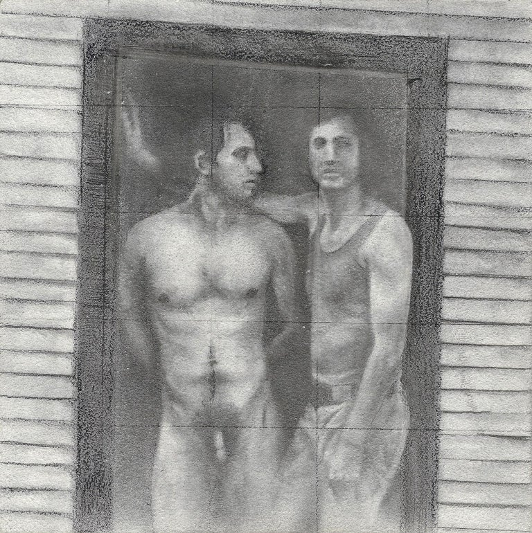 Rick Sindt Figurative Art - Daniel #1 - Two Male Figures, One Nude in Doorway, Original Graphite Drawing
